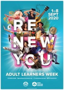 "Poster for Adult Learners Week 2020 with the tag-line ""Renew You"" and images of adults exploring varied enriching activities."