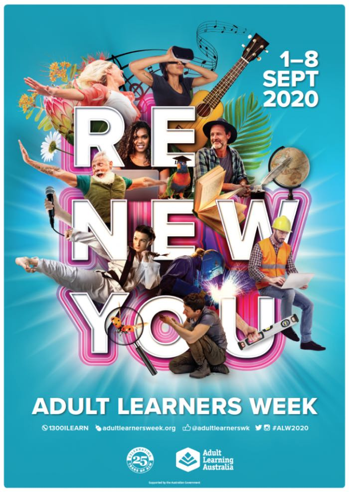 """Poster for Adult Learners Week 2020 with the tag-line """"Renew You"""" and images of adults exploring varied enriching activities."""