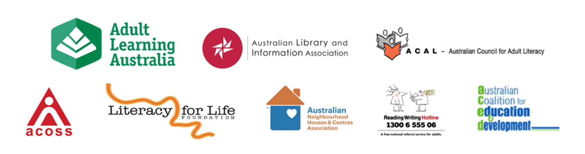Logos of Adult Learning Australia and Literacy organisations.