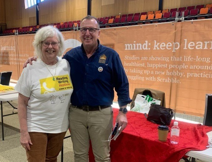 Elizabeth from the RW Hotline at the wellness expo in Bundaberg