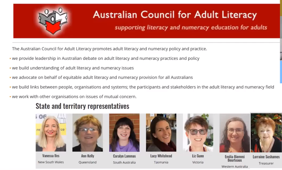 Australian Council for Adult Literacy committee members