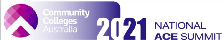 Community colleges Australia National ACE Summit logo 2021
